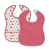Mothercare Heart and Tulip Crumbcatcher Bibs- 2 Pack