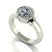 18ct White Gold Rub Set 8.0mm Moissanite Single Stone Ring