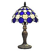 Loxton Lighting Tiffany Bistro 1 Light Large Circles Table Lamp - Beige / Blue - 35cm x 20cm