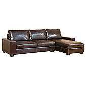 Global Furniture Direct Bonded Leather 3 Seater Corner Sofa - Black