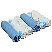 Cuddles Collection Pack of 6 Muslin Squares (Mixed Designs Blue)