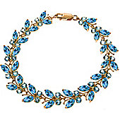 QP Jewellers 6in 16.50ct Blue Topaz Butterfly Bracelet in 14K Rose Gold