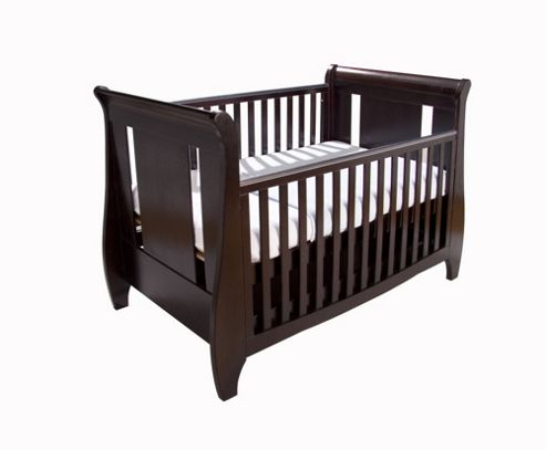Tutti Bambini Lucas Sleigh Dropside Cot Bed with Drawer in Espresso
