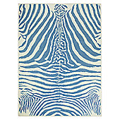 Lorena Canals Zebra Blue Children's Rug - 140 cm W x 200 cm D (4 ft 9 in x 6 ft 6.5 in)