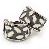 Small C-Shape Grey/White Enamel Clip On Earring In Rhodium Plated Metal