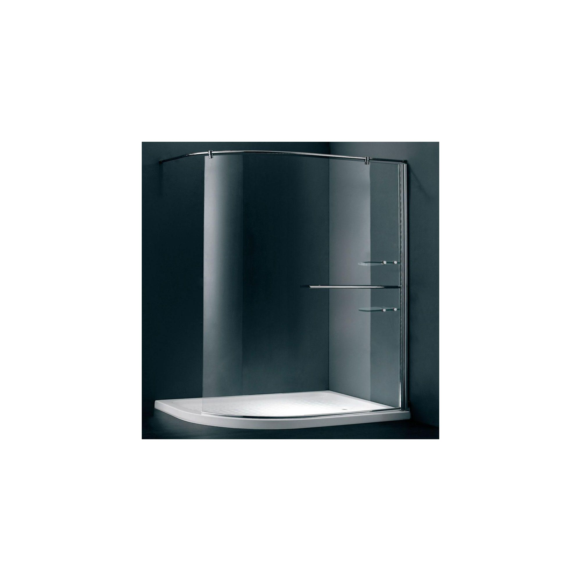 Duchy Style Curved Walk-In Wet Room Glass Shower Enclosure, 1200mm x 900mm, 6mm Glass, Low Profile Tray, Left Handed at Tesco Direct