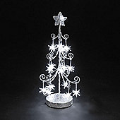 Battery Operated Silver Wire Christmas Tree 18in with Sputniks & 16 White LEDs