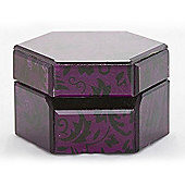 Glass Jewellery / Trinket Box - Purple / Black