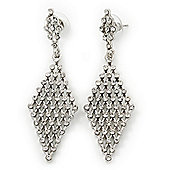 Clear Swarovski Crystal Diamond Shape Drop Earrings In Rhodium Plating - 6.5cm Length