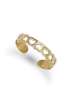 Jewelco London 9ct Solid Gold flat Toe Ring with cut out hearts pattern