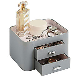 Beautify Faux Leather Makeup & Accessory Storage Organiser with 2 Drawers - Grey/ Pink