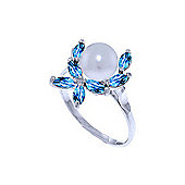 QP Jewellers Blue Topaz & Pearl Ivy Ring in 14K White Gold