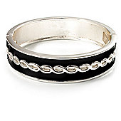Black Ornamental Enamel Hinged Bangle Bracelet (Silver Tone)