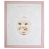 Babies First Year Monthly Photo Frame - Pink