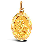 Jewelco London 9ct Solid Gold St Christopher Medallion pendant