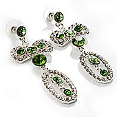 Stunning Diamante Bow Earrings (Clear & Green)