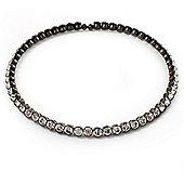 Gun Metal Clear Swarovski Flex Choker Necklace
