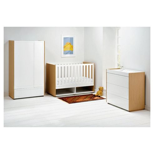 East Coast Monza 3 Piece Nursery Room Set, White & Natural