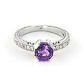 QP Jewellers Diamond & Amethyst Fantasy Ring in 14K White Gold