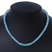 Light Blue Mountain Crystal and Swarovski Elements Choker Necklace - 36cm Length (5cm extension)