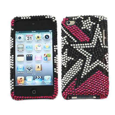 iTALKonline Screen Protector and Premium FunkGem Stardust 2 Part Case Black/Pink/Silver - For Apple iPod Touch 4