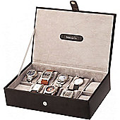 Black Bonded Leather 10 Place Watch Box