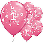 11' 1st Birthday Circle Hearts Girl (6pk)