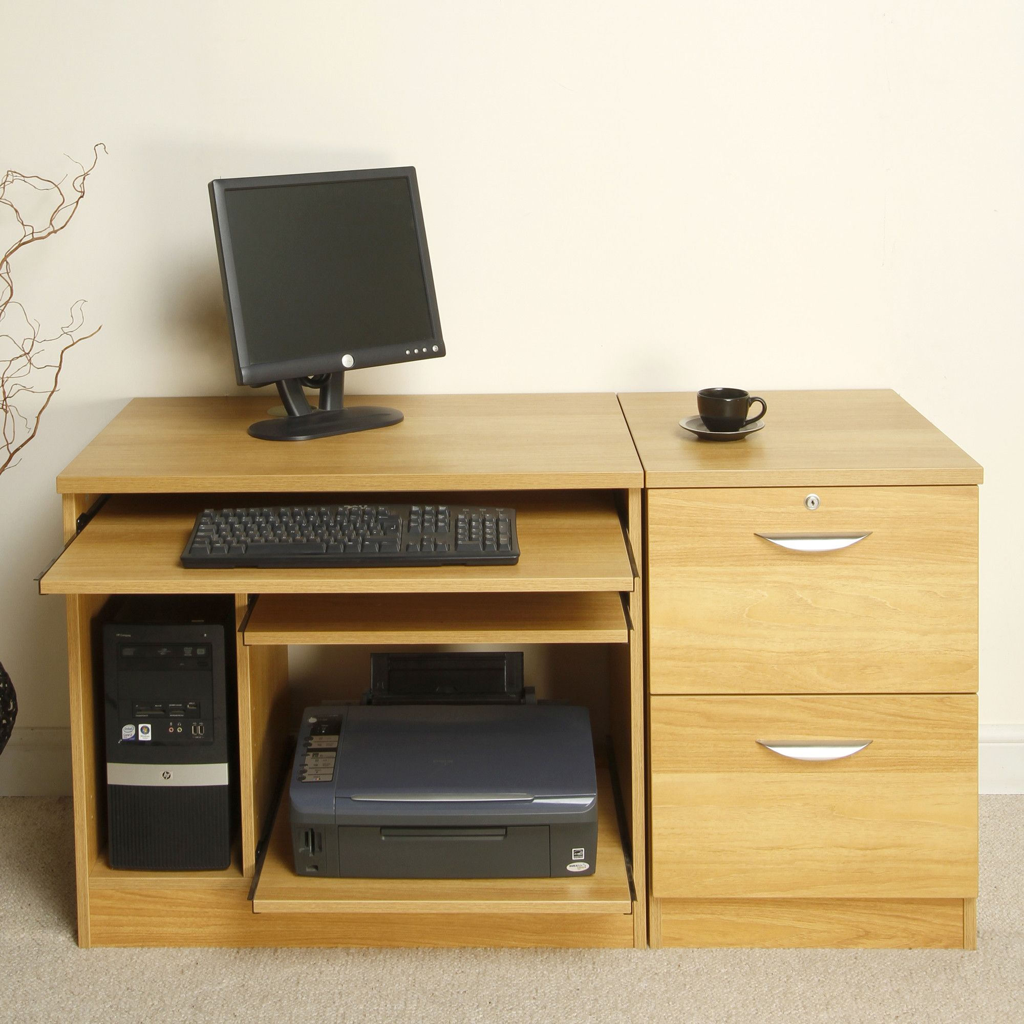 Enduro Home Office Desk / Workstation with Inbuilt Filing Cabinet and Printer / CPU Storage - Warm Oak at Tesco Direct