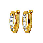 QP Jewellers 1.20ct White Topaz Acute Huggie Earrings in 14K Gold