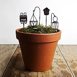 Mini Fairy Garden 5pc Brown Set - Accessories on Stakes
