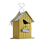 Wooden Vintage Yellow Bird House/Nesting Box with 'Happy Bird Family' Plaque