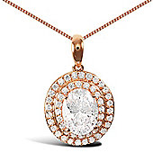 Jewelco London Rose Coated Sterling Silver Cubic Zirconia Charm Pendant - 18 inch Chain