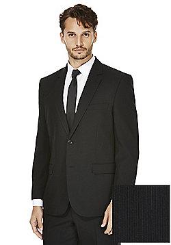 F&F Black Narrow Stripe Regular Fit Suit Jacket - Black