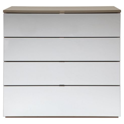 Palermo 4 Drawer Chest, Taupe Mirrored