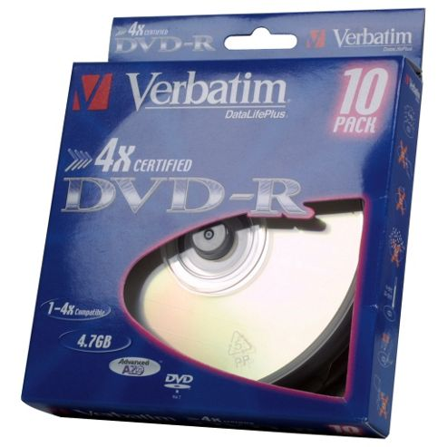 Verbatim Blank Storage DVD-R Disc 4.7GB 4X 10 Pack Box