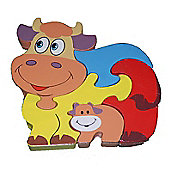 Traditional Wood 'n' Fun Farm Animal Puzzles - Cow 12m+