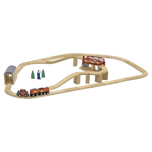 Melissa & Doug Swivel Bridge Wooden Train Set