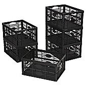 Tesco 32L Plastic Folding Crate, Pack of 6, Black