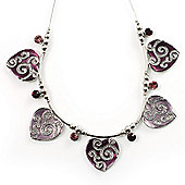 5 Ornate Enamel Heart Choker Necklace (Purple&Lilac)