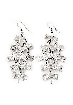 Silver Plated Textured 'Butterfly' Drop Earrings - 7cm Length