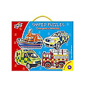 Shaped Puzzles Emergency Vehicles 345 and 6 pcs Galt
