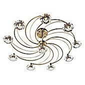 Eye-catching Modern Antique Brass Semi Flush Ceiling Light