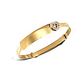 Jewelco London 9ct Flat diamond cut solid gold children's expanding bangle with CZ set heart