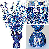 Happy Birthday Blue Foil Centrepiece - Table Decoration