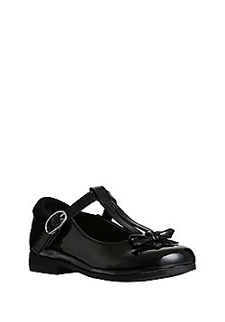 F&F Scuff Resistant Patent Bow T-Bar School Shoes - Black