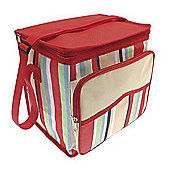 Country Club Large Cooler Bag, Cream & Red Multi Stripe