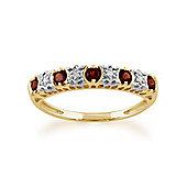 Gemondo 9ct Yellow Gold 0.30ct Garnet & 2pt Diamond Half Eternity Ring
