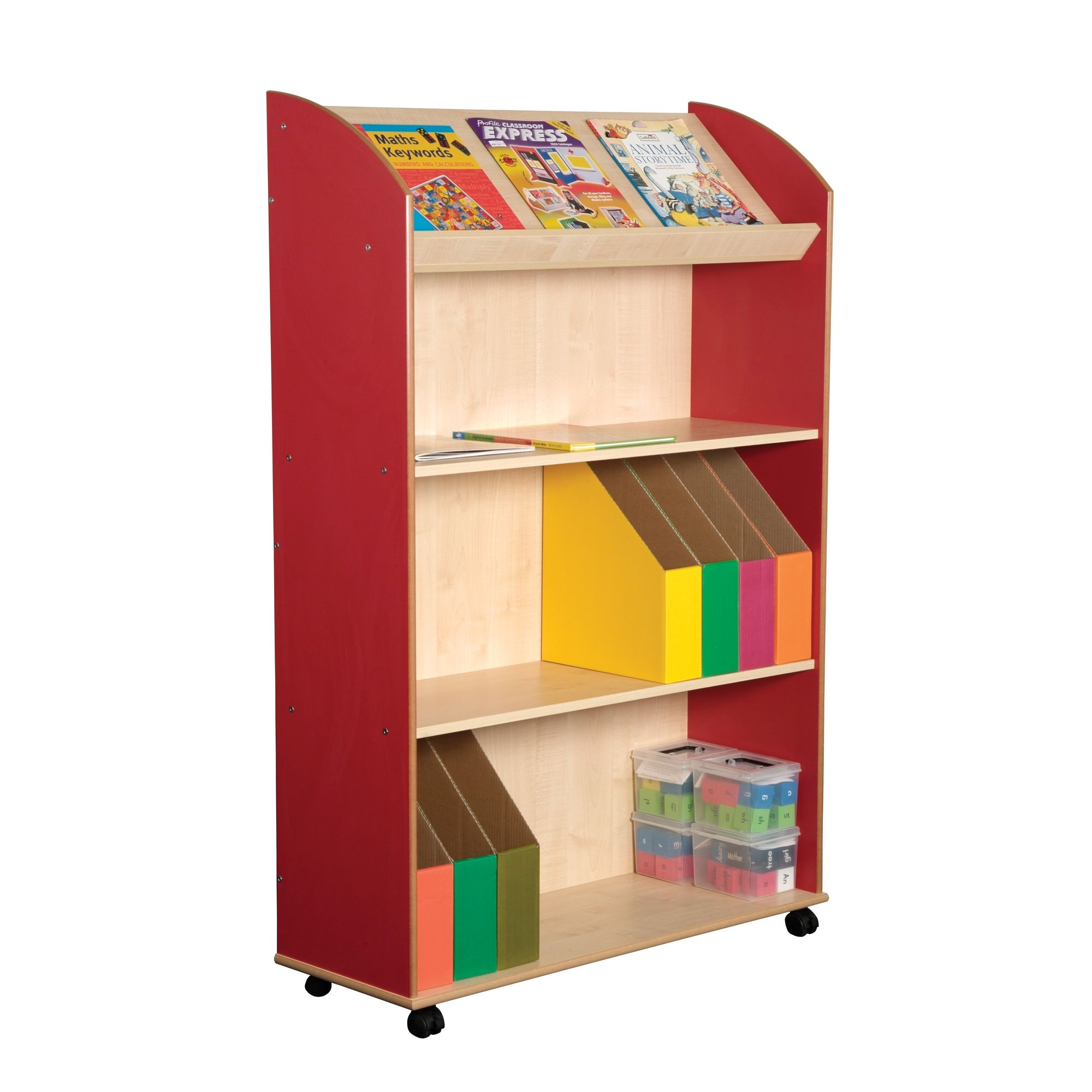 Liberty House Toys Primary Coloured Maple Three Shelf Bookcase and Display Unit at Tesco Direct