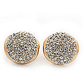 Gold Plated Swarovski Crystal Dome Stud Earrings - 1.8cm Diameter