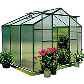 Nison EaZi-Click 6X8 Aluminium Polycarbonate Greenhouse in Dark Green including Base